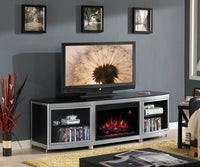Gotham Fireplace Credenza - Silver and Black