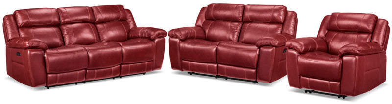 Solenn Power Reclining Sofa, Reclining Loveseat and Recliner - Rouge