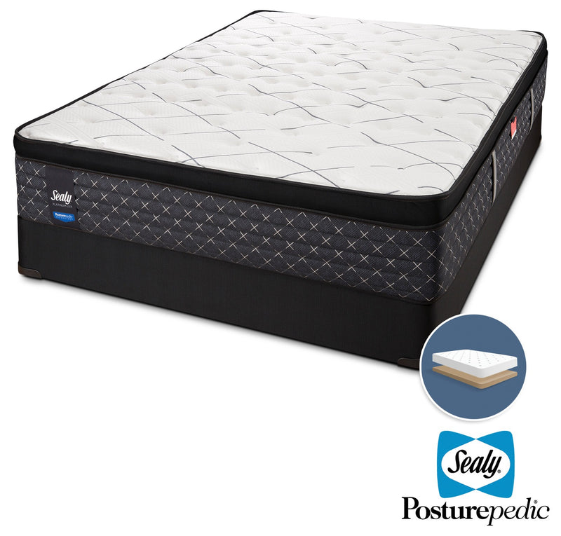 Sealy Ethos Plush Queen Mattress and Low-Profile Boxspring