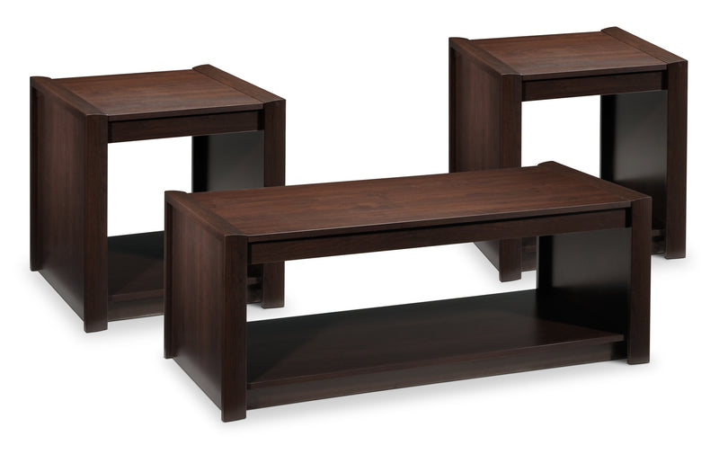 Toffee Coffee Table and Two End Tables - Maple Java
