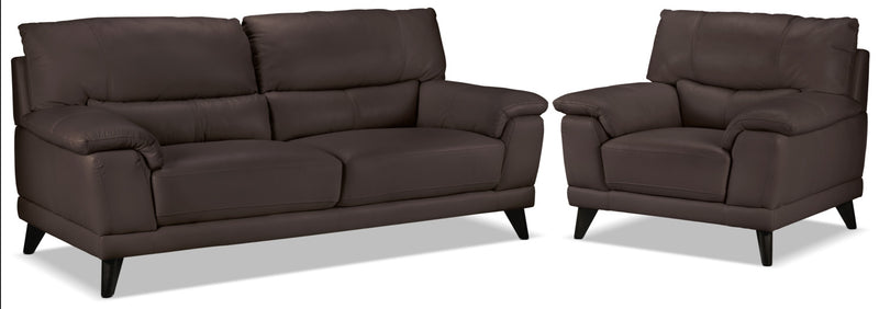 Braylon Sofa and Chair Set - Dark Chocolate