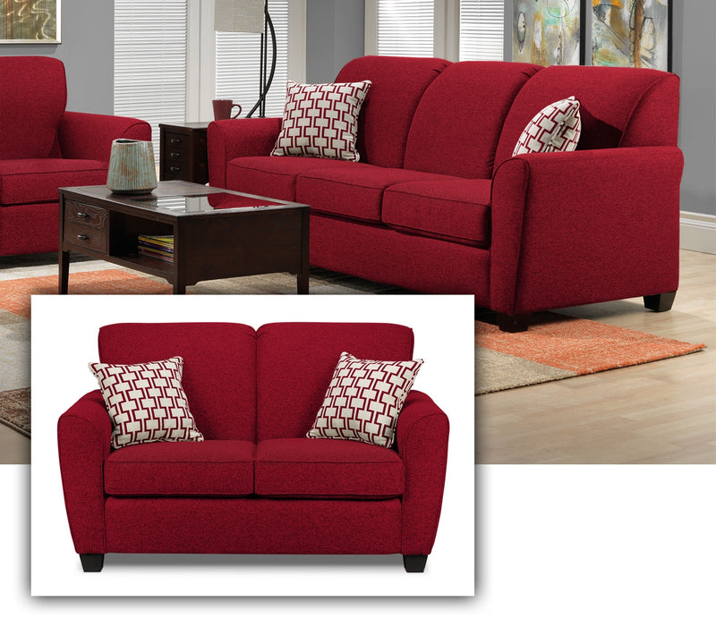 Ashby 2 Pc. Living Room w/ Loveseat - Red