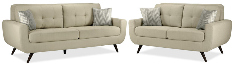 Julian Sofa and Loveseat Set - Beige