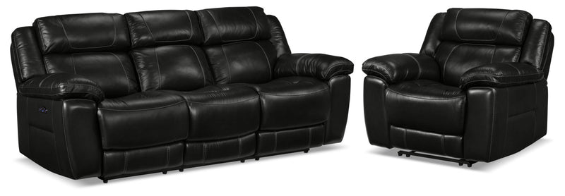 Solenn Power Reclining Sofa and Recliner - Black