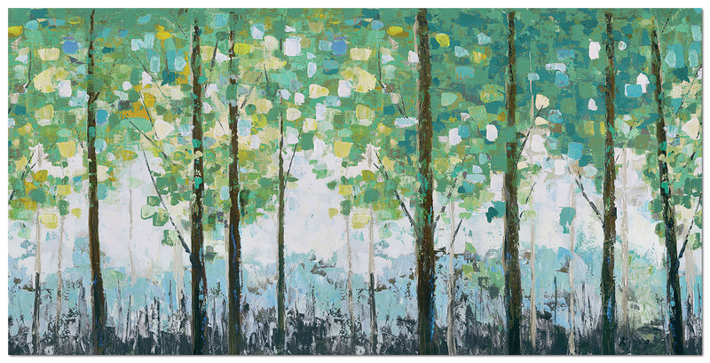 "Spring Leaves Canvas Painting (60"" X 30"")"