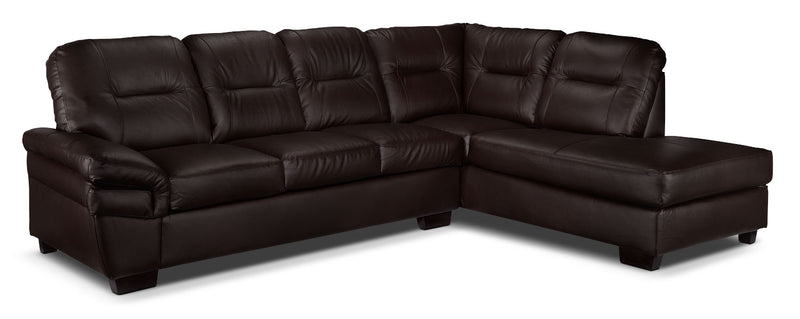 Harper 2-Piece Sectional with Right-Facing Chaise - Dark Chocolate