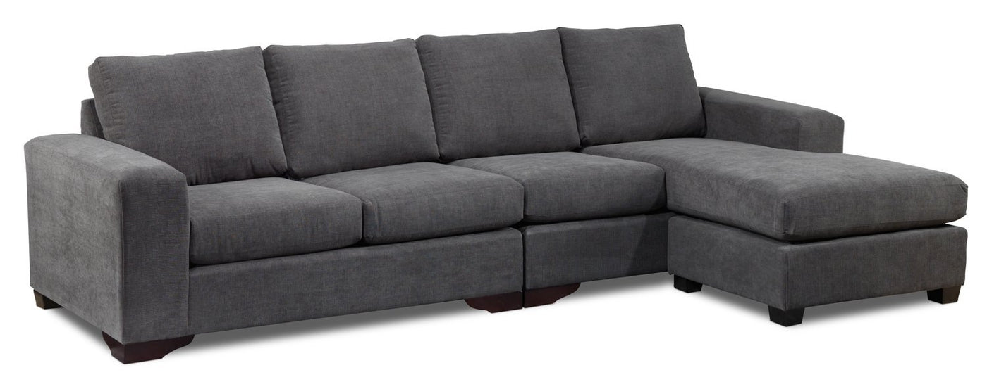 Danielle 2 Piece Sectional With Right Facing Chaise Grey Leons