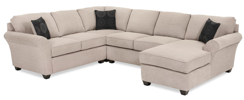 Althea 4-Piece Sectional with Right-Facing Chaise - Mocha