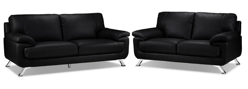 Infinity Sofa and Loveseat Set - Black