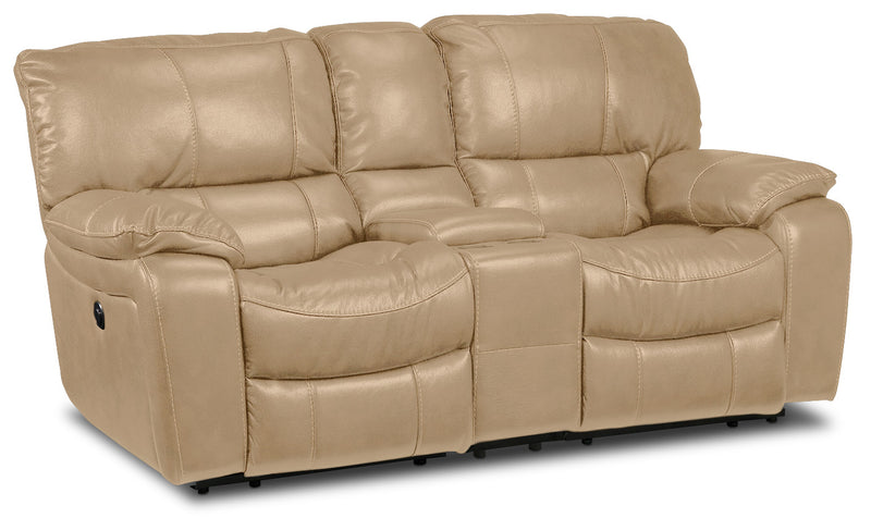 Santorini Power Reclining Loveseat with Console - Taupe