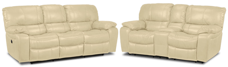 Santorini Power Reclining Sofa and Reclining Loveseat with Console Set - Dove
