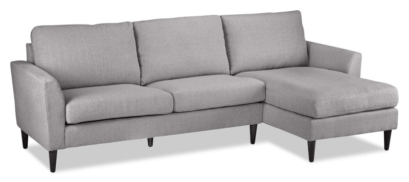 Maria 2-Piece Sectional with Right-Facing Chaise - Light Grey