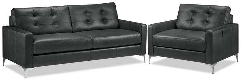 Draven Sofa and Chair and a Half Set - Dark Grey