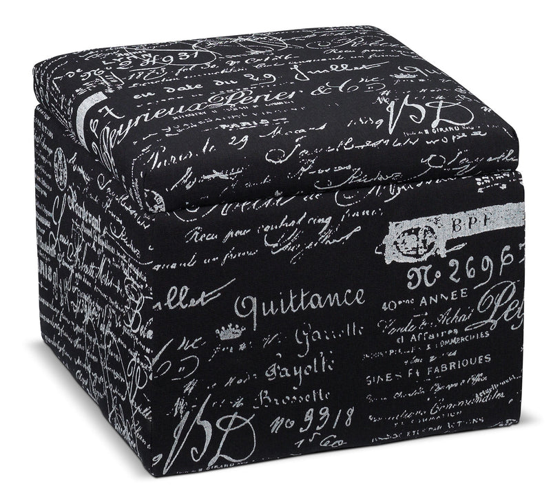 Boardwalk Small Storage Ottoman - Scroll Black