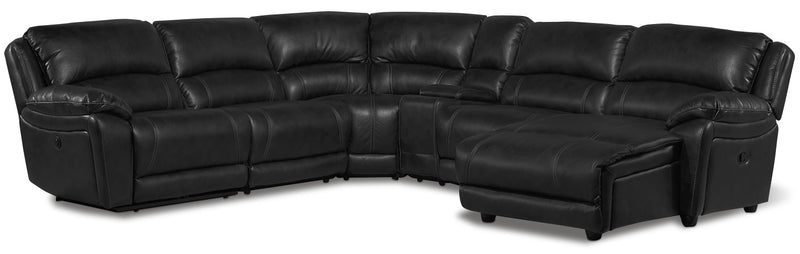 Santorini 6-Piece Power Reclining Sectional with Right-Facing Chaise - Black