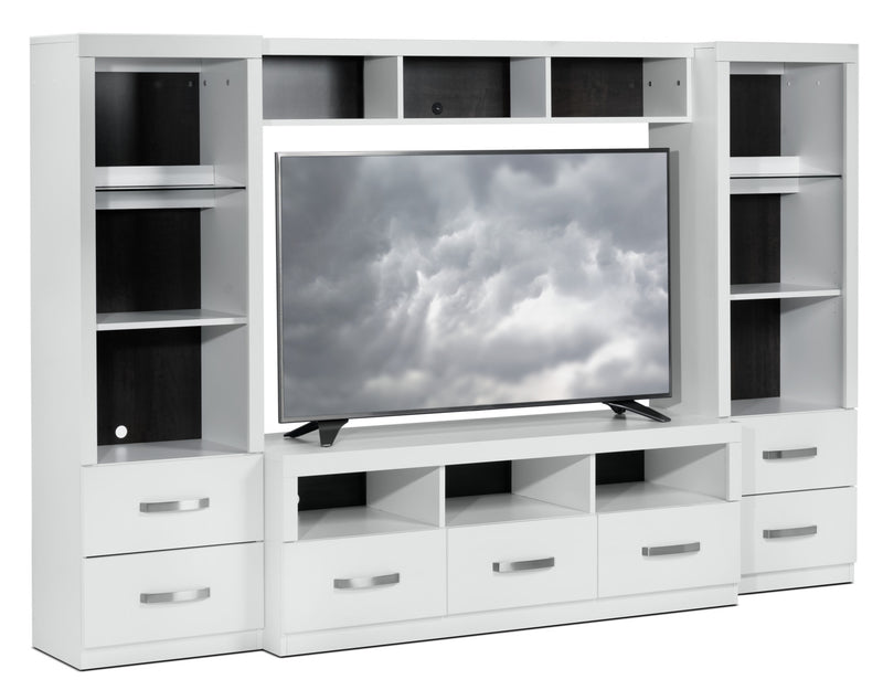 Warner 4-Piece Entertainment Wall Unit - White