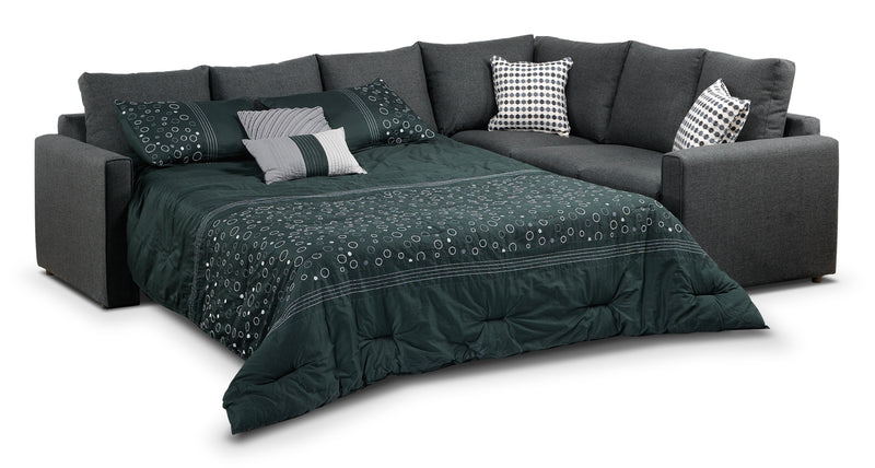 Athina 2-Piece Sectional with Left-Facing Queen Sofa Bed - Charcoal