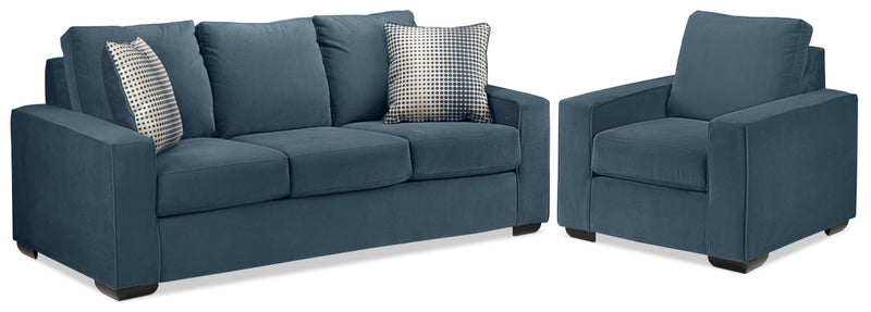 Ciara Sofa and Chair Set - Navy