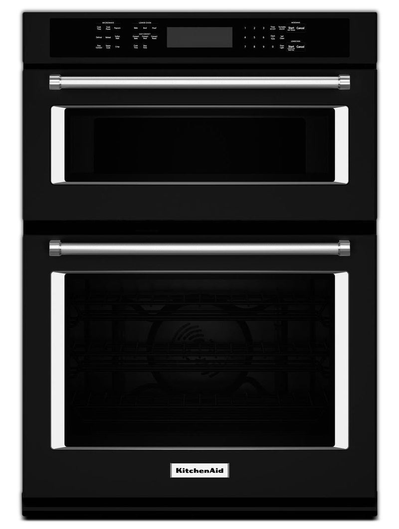 KitchenAid Black Convection Wall Oven (5 Cu. Ft.) w/ Microwave (1.4 Cu. Ft.) - KOCE500EBL