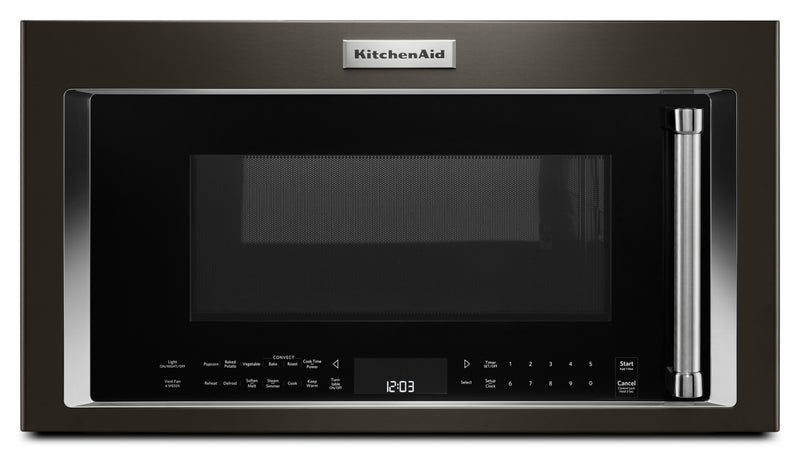 KitchenAid Black Stainless Steel Over-the-Range Microwave (1.9 Cu. Ft.) - YKMHC319EBS