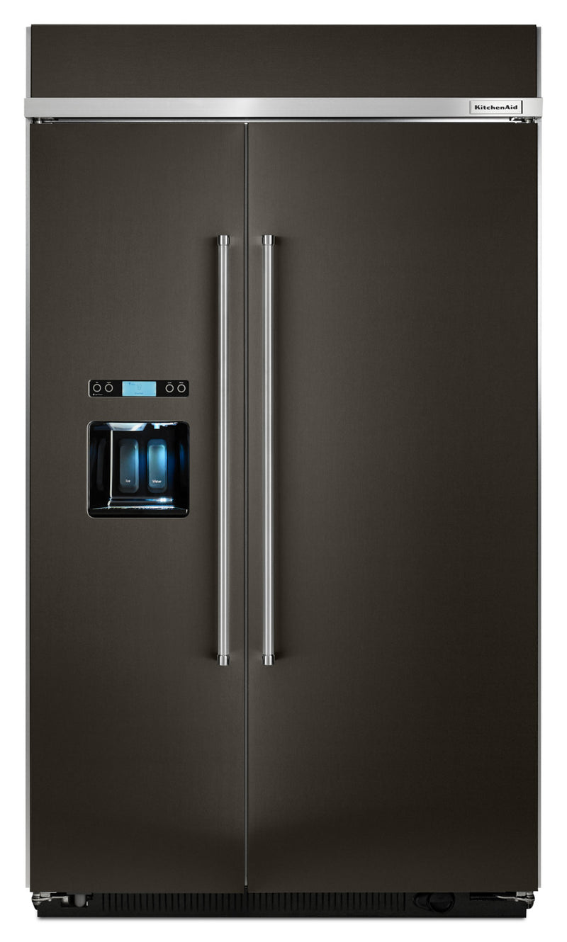 KitchenAid Black Stainless Steel Side-by-Side Refrigerator (29.5 Cu. Ft) - KBSD608EBS