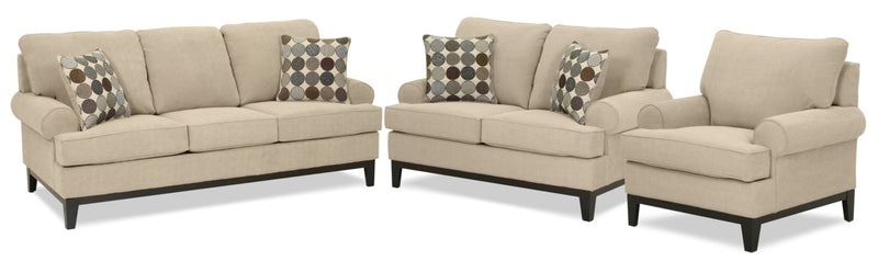 Crizia Sofa, Loveseat and Chair Set - Mocha