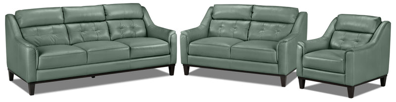 Linda Sofa, Loveseat and Chair Set - Seafoam