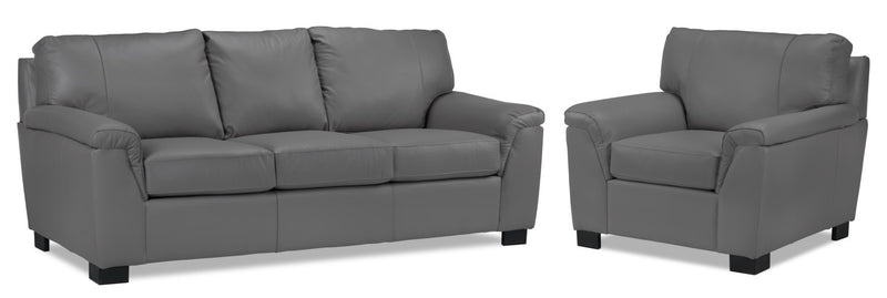 Reynolds Sofa and Chair Set - Grey
