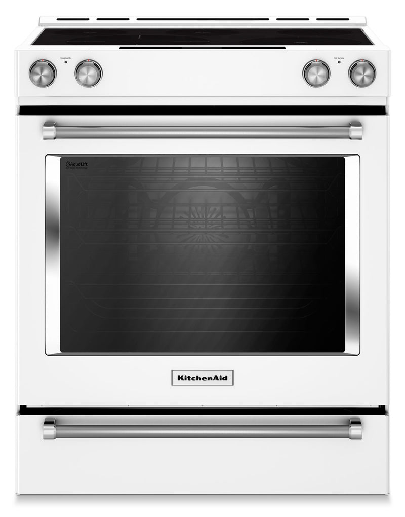 KitchenAid White Slide-In Electric Convection Range (7.1 Cu. Ft.) - YKSEB900EWH