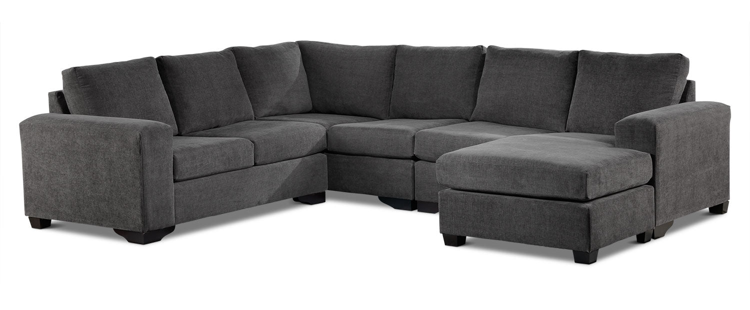 Danielle 3 Piece Sectional With Right Facing Corner Wedge Grey