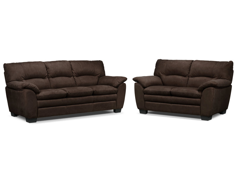 Kelleher Sofa and Loveseat Set - Walnut