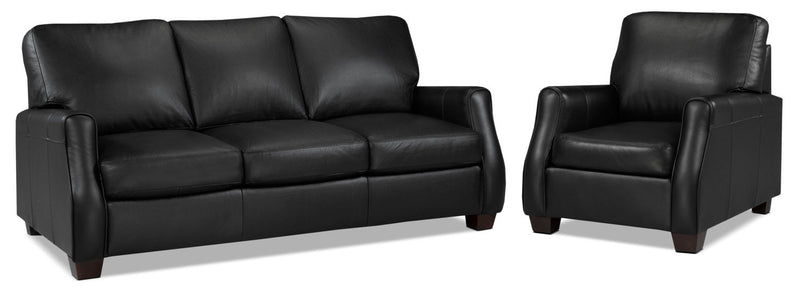 Talbot Sofa and Chair Set - Black