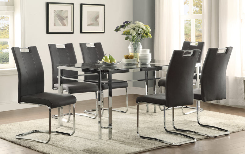 Watt 7-Piece Dinette Set - Dark Grey and Chrome