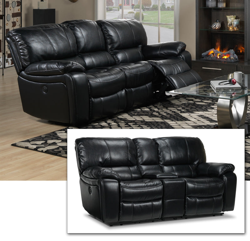 Santorini Power Reclining Sofa and Reclining Loveseat with Console Set - Black