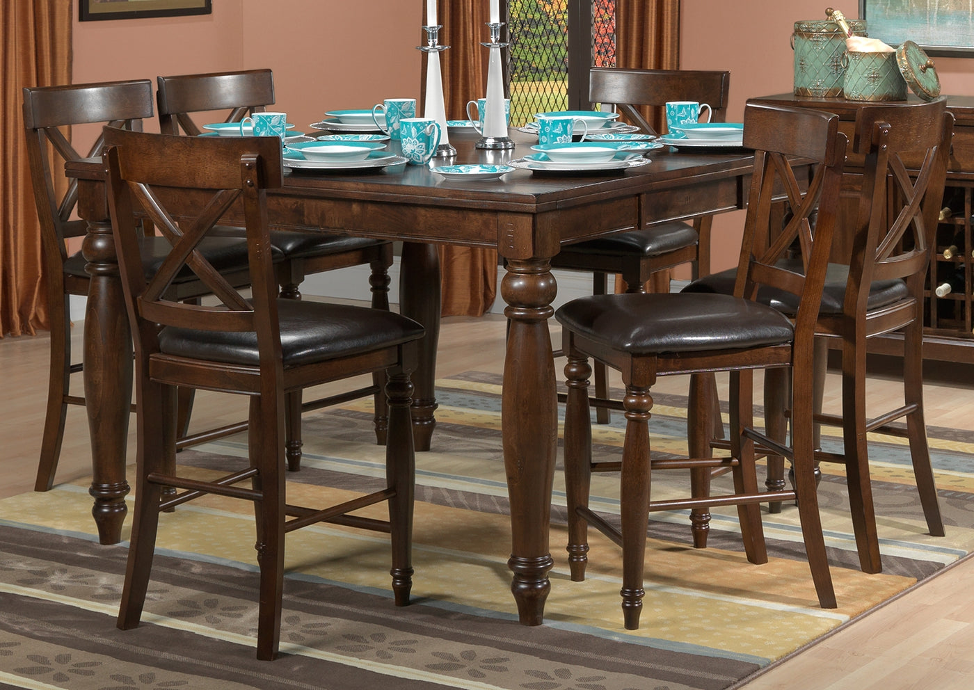 Kingstown 7 Piece Pub Height Dining Room Set Chocolate Leon S