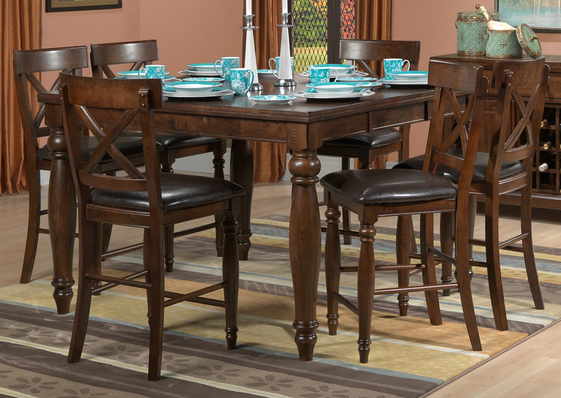 Kingstown 7-Piece Pub-Height Dining Room Set - Chocolate