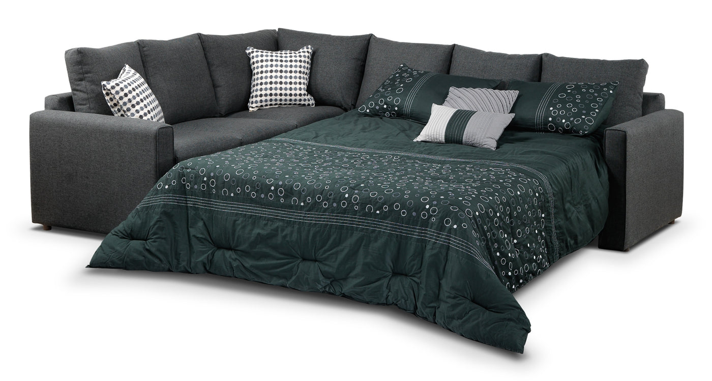 Marvelous Athina 2 Piece Sectional With Right Facing Queen Sofa Bed Charcoal Ibusinesslaw Wood Chair Design Ideas Ibusinesslaworg