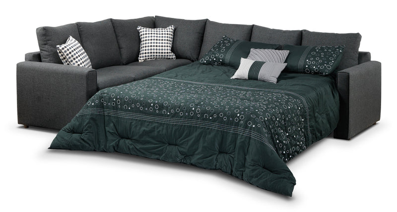 Wonderful Athina 2 Piece Sectional With Right Facing Queen Sofa Bed   Charcoal