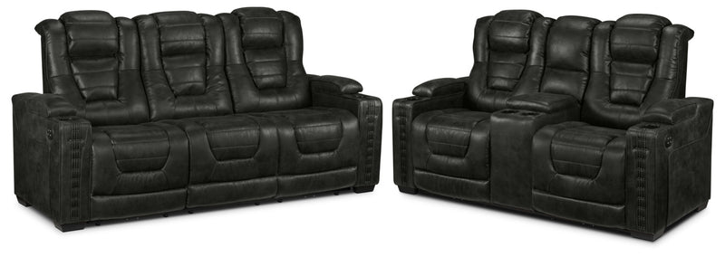 Dakota Power Reclining Sofa and Reclining Loveseat Set - Eclipse
