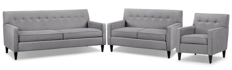 Passerina Sofa, Loveseat and Chair Set - Grey