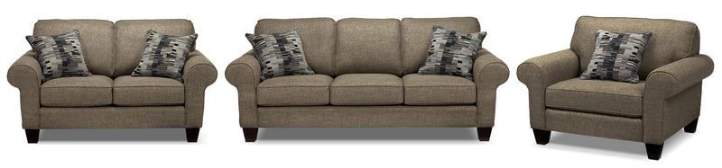 Drake Sofa, Loveseat and Chair Set - Mercury