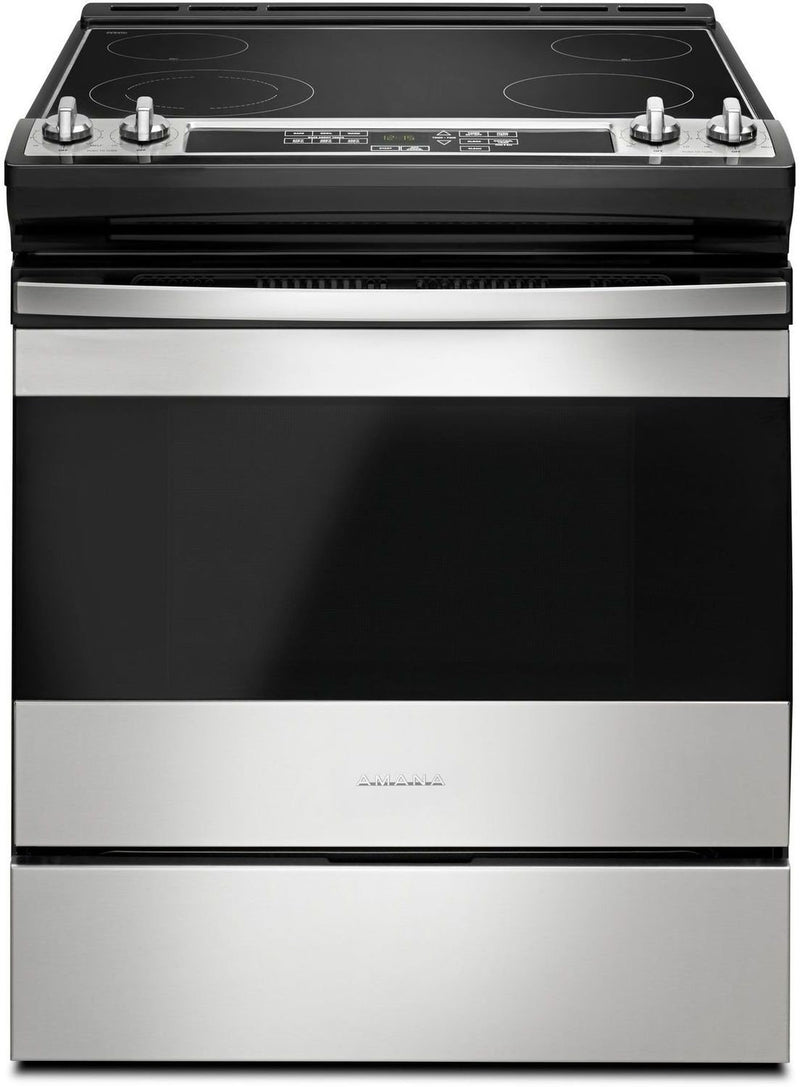 Amana Black-on-Stainless Steel Slide-In Electric Range (4.8 Cu. Ft.) - YAES6603SFS