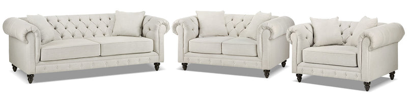 Nubia Sofa, Loveseat and Chair and a Half Set - Pearl