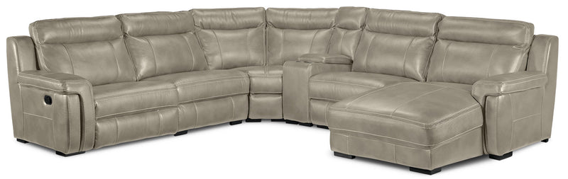Bolero 6-Piece Reclining Sectional with Right-Facing Chaise - Pewter