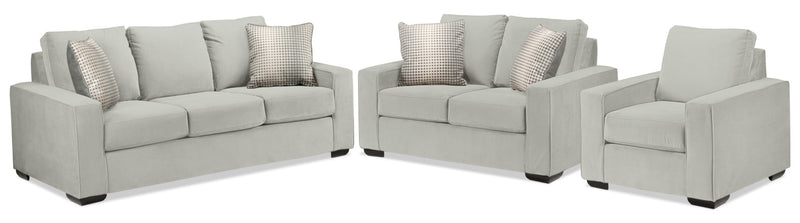 Ciara Sofa, Loveseat and Chair Set - Silver