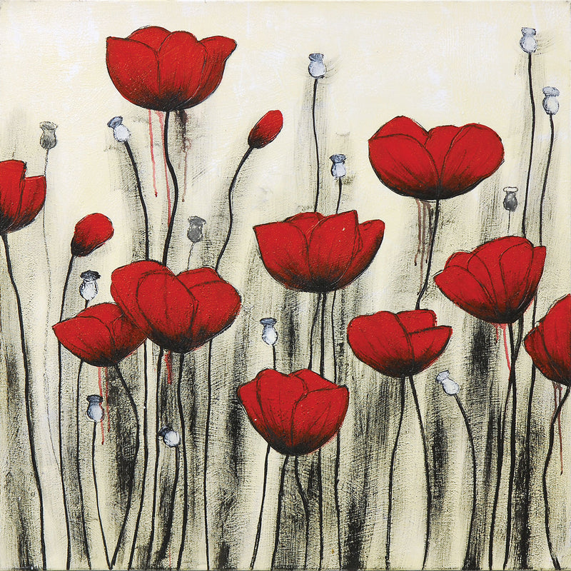 "Poppies Canvas Painting (40"" X 40"")"