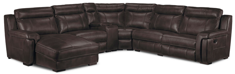 Bolero 6-Piece Reclining Sectional with Left-Facing Chaise - Coffee