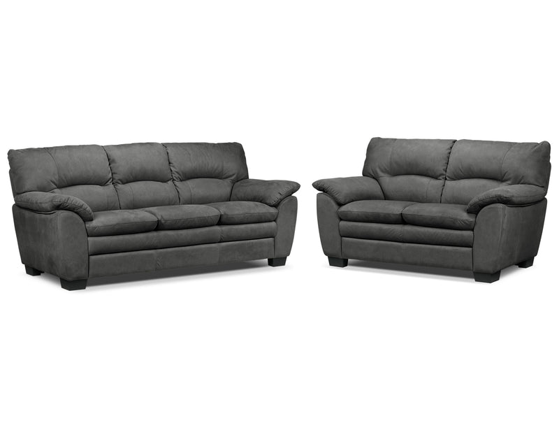 Kelleher Sofa and Loveseat - Charcoal