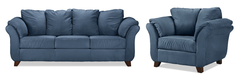 Collier Sofa and Chair Set - Cobalt Blue
