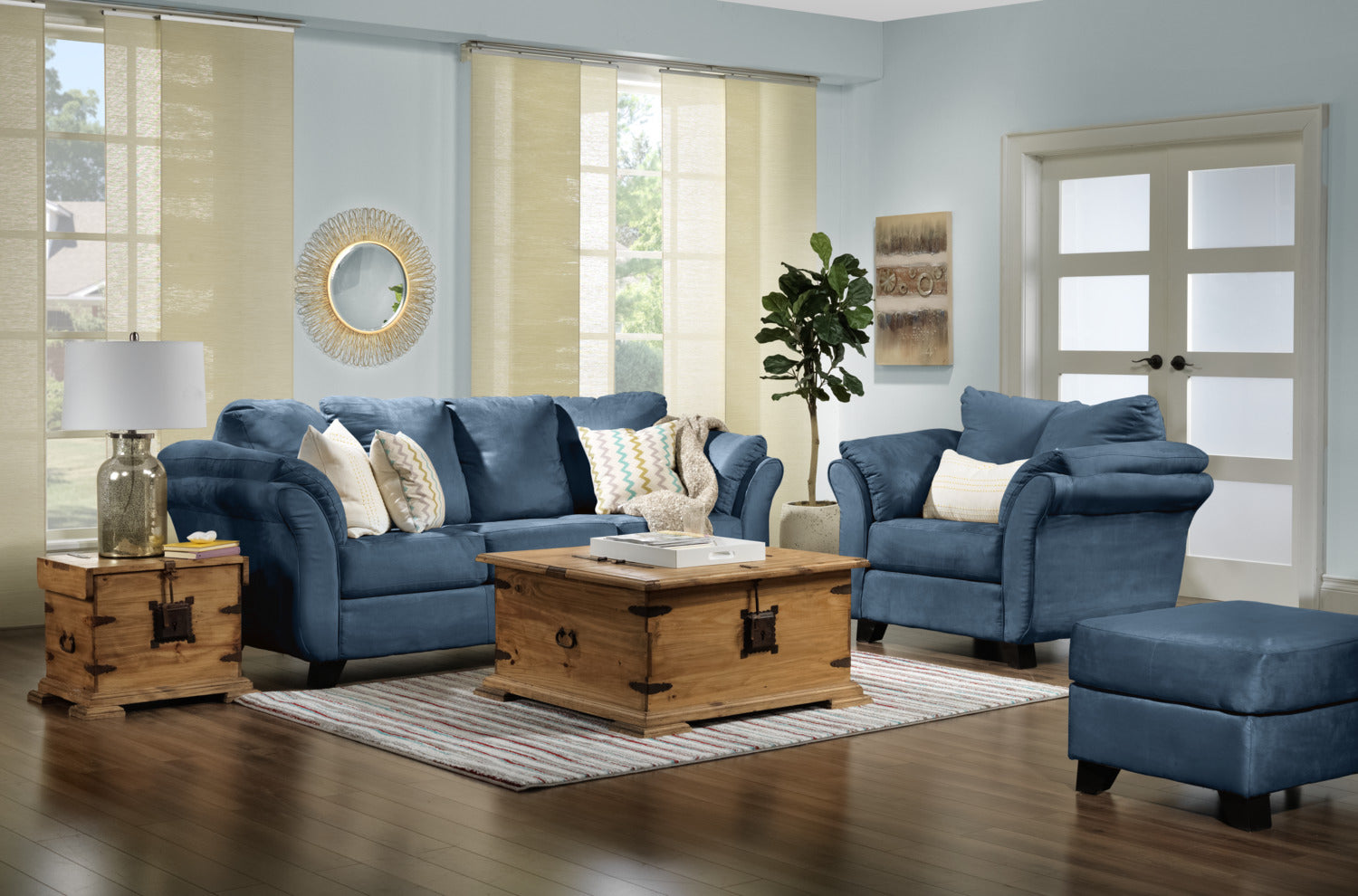 Collier Sofa Loveseat And Chair Set Cobalt Blue Leon S